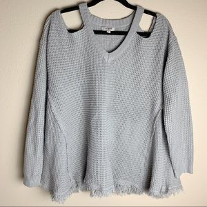 Umgee • Gray Cold Shoulder Frayed Hem Sweater